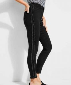 Jeans Seitliche Fransen