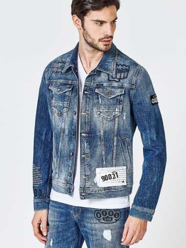 Jeansjacke Details Vorn Und Hinten