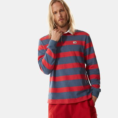 The North Face Rugby Shirt Für Herren Vintage Indigo Stripe Größe L Herren