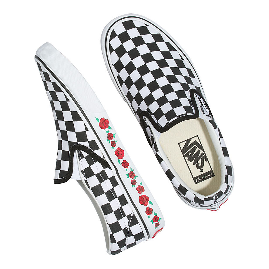 VANS Personalisierbare Checkerboard Rose Slip-on (white/black/black) Damen Weiß, Größe 38.5