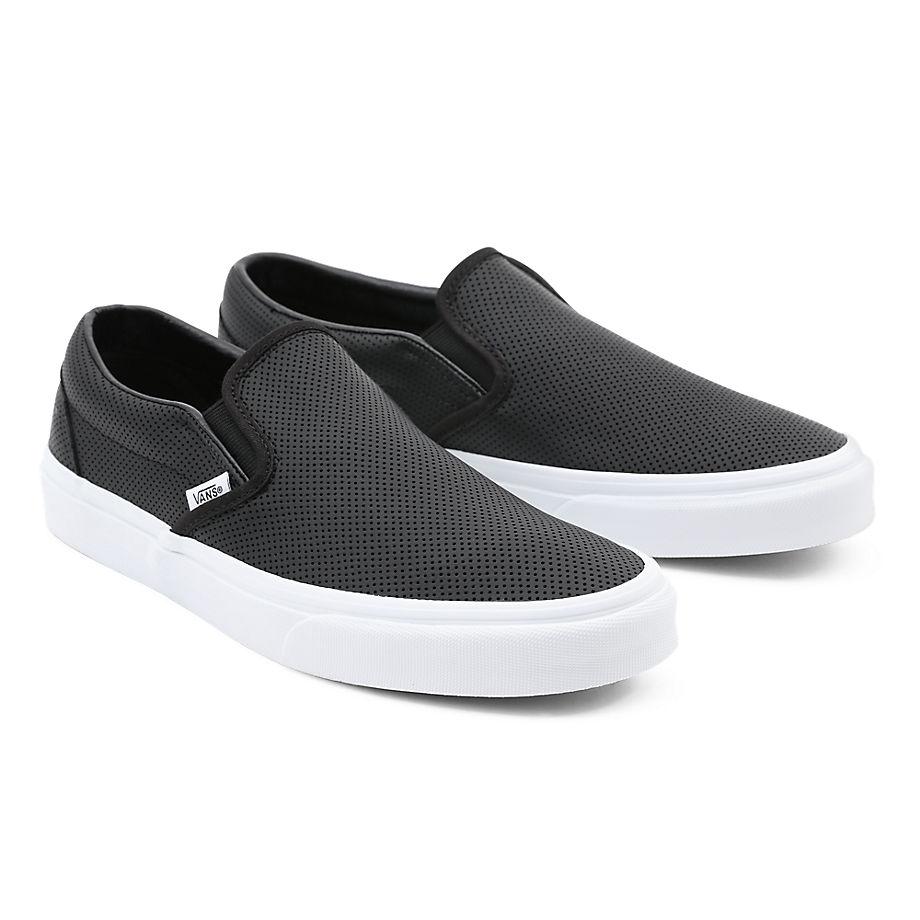 VANS Classic Slip-on Lederschuhe ((perf Leather) Black) Damen Schwarz, Größe 34.5