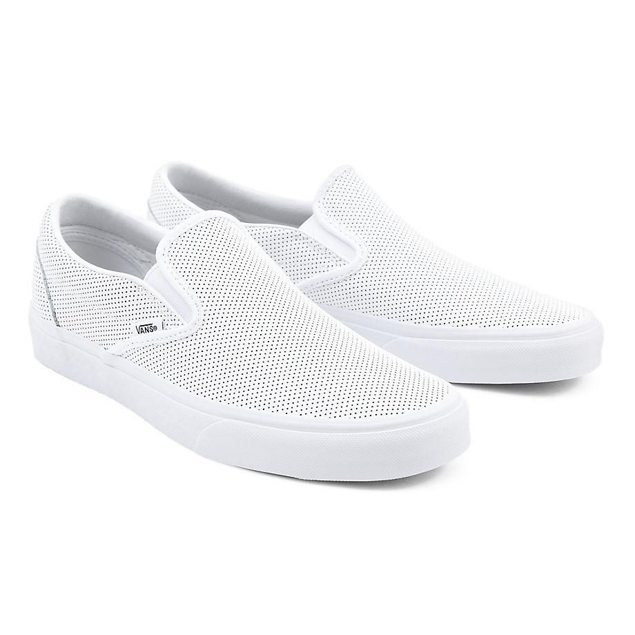 VANS Classic Slip-on Lederschuhe ((perf Leather) White) Damen Weiß, Größe 34.5