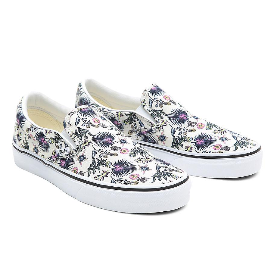 VANS Paradise Floral Classic Slip-on Schuhe ((paradise Floral) True White/true White) Damen Weiß, Größe 34.5
