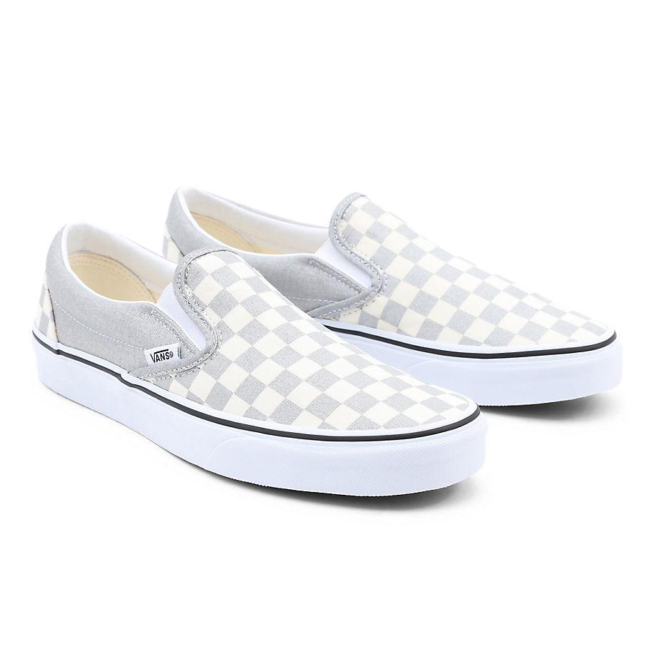 VANS Checkerboard Classic Slip-on Schuhe ((checkerboard) Silver/true White) Damen Grau, Größe 34.5