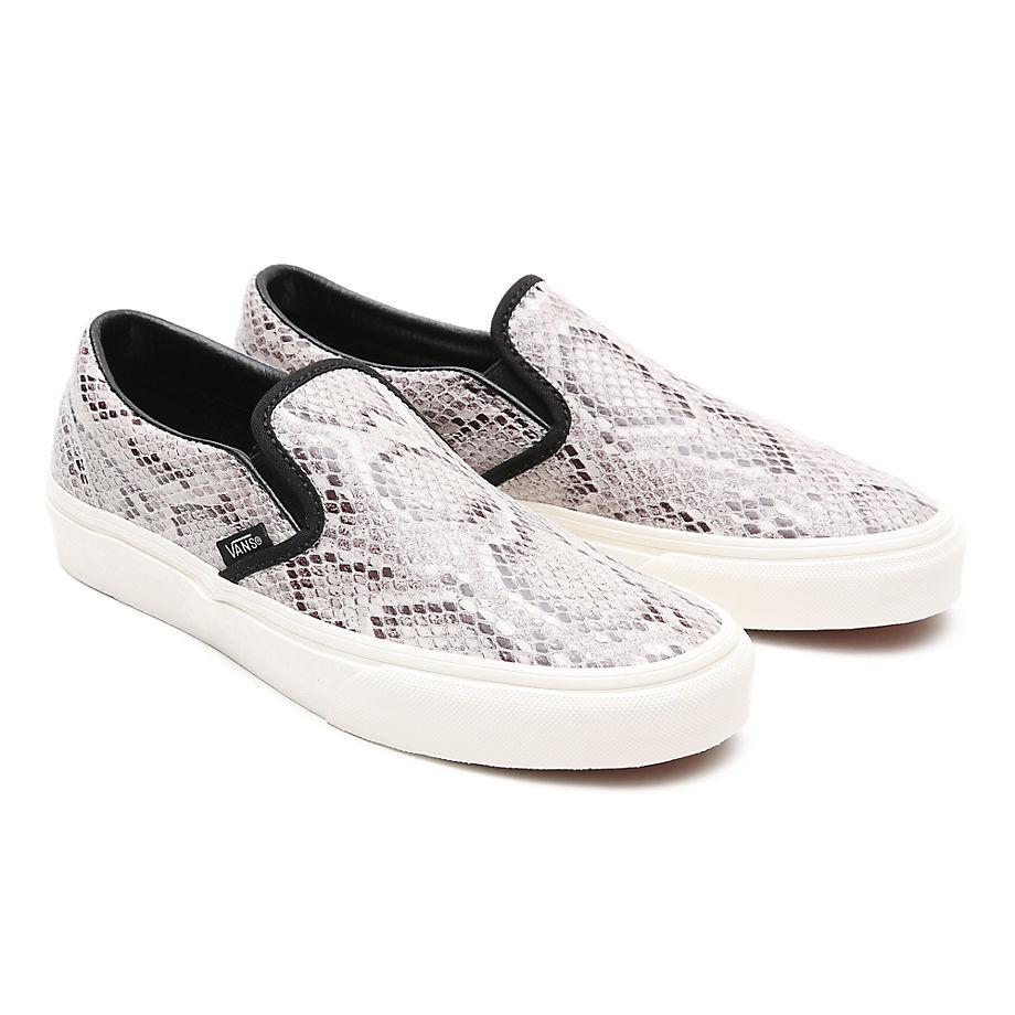 VANS Snake Classic Slip-on Schuhe ((snake) Marshmallow/black) Damen Beige, Größe 35